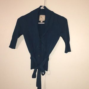 Pink Rose Blue Cardigan with Waist Tie